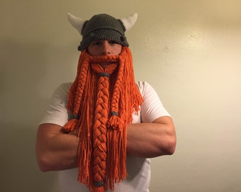 Handmade Crochet Viking or Dwarven Hat with Red Beard