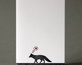 Fox in Love - Letterpress Greetings Card - Valentine's Day - Anniversary