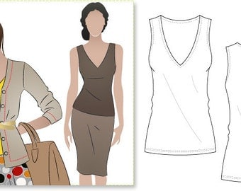 Women's Sewing Pattern - Diana Top - Sizes 16, 18, 20 - Singlet Top PDF Sewing Pattern by Style Arc