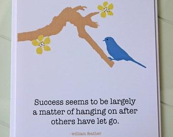 Handmade Bird Success Greeting Card - 5x7 Encouragement Art Card - Blank Inside
