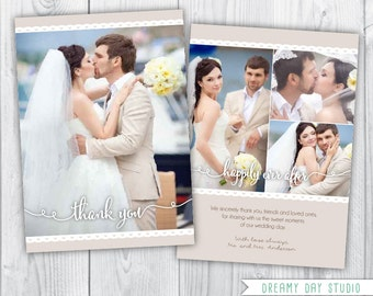 wedding thank you card / wedding thank you photo card / wedding thank you photo / wedding thank you card template / photoshop / PSD
