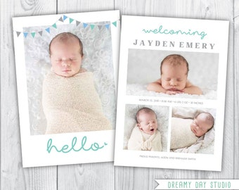 hello birth announcement / birth announcement / baby birth announcement / boy birth announcement / birth announcement template / INSTANT