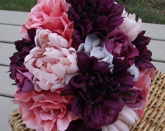 Wedding Flowers,  Rustic Bouquet, Wedding Bouquet, Bridal Bouquet, Flowers with cream hydrangea, plum dalhia, blush mums, mauve, coral