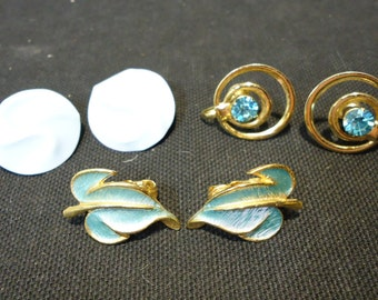 Lot of 3 Vintage Blue Clip and Screw On Earrings