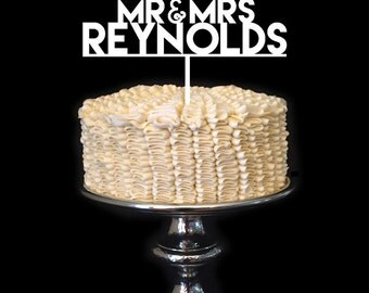 Mr and Mrs CUSTOM Personalized Wedding Cake Topper Birch Wood
