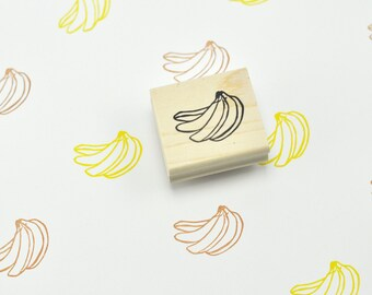 Banana Bunch Rubber Stamp, Hand Carved Stamp
