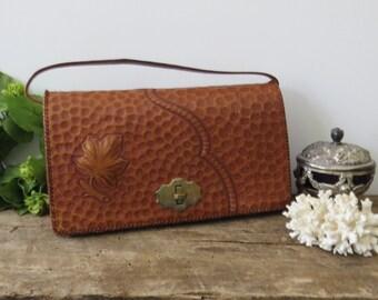 Vintage Handtooled Leather Purse Handmade Handbag Tan Brown Maple Leaf Detail Saddle Leather Mid-Century