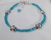 Turtle Anklet   Blue Seed Bead with Turtles Anklet Ankle Chain  Surf Anklet