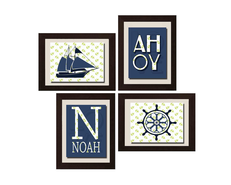 nautical decor nautical nursery art personalized wall art. Black Bedroom Furniture Sets. Home Design Ideas