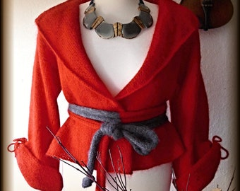 Knit sweater, cardigan, bolero, with belt, 100% mohair, knitted, unique