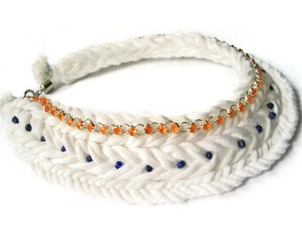 Braid White Necklace, Cotton choker necklace, African Necklace, Braided Jewelry for women, Tshirt jewelry, Indian Choker, Gift for teen girl