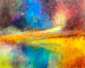 abstract painting acrylic - acrylic abstract painting - landscape abstract undergrowth at the edge of the pond