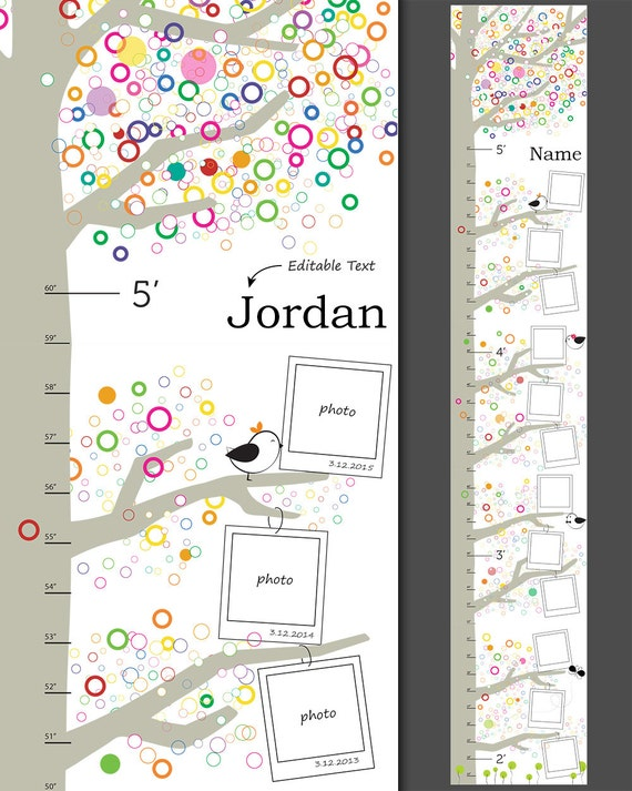 Growth charts for children custom name kid room decor for Growth chart for kids room