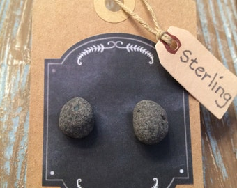 Lake Superior Beach Stone, Sterling Silver Post Earrings, .925 Solid Sterling Silver, Gray Stones