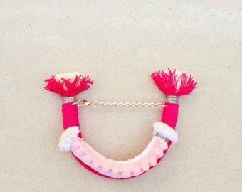 Pink | White Pom Pom Bracelet