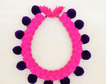Pink | Purple Pom Pom Necklace