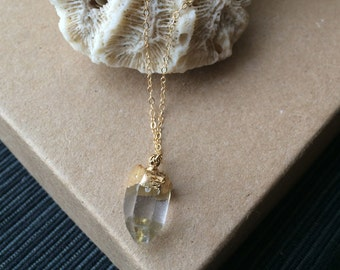 Crystal & Gold// Delicate Gold Dipped Quartz Necklace
