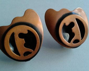 Vintage Mid-Century Copper Earrings