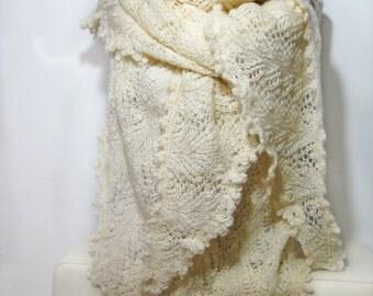 Hand Knit Shawl, Chunky Knit Shawl, Long Shawl, Winter Accessories, Womens Accessories, Womens Gift, White Shawl, Triangle Shawl