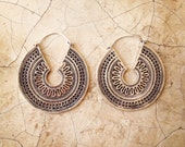 SALE Silver Coloured Earrings, Boho Earrings, Tribal Earrings, Hoop Earrings, Gipsy Earrings, Tribal Belly Dance Jewellery.
