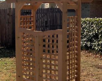 Brand New Classic Cedar Garden Arbor with Gate - Free Shipping