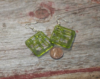 Lucite Earrings Tech Pink, Green or White