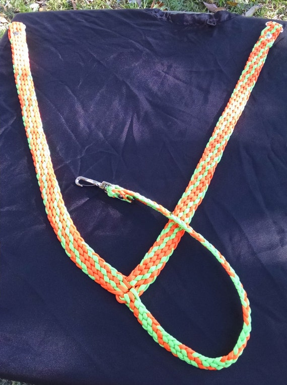 Horse Tack: Paracord Breast Collar Standard horse size Neon Orange/ Lime Green , #550 paracord, adjustable tug straps, trigger snaps