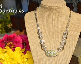 Vintage Signed Sarah Coventry Yellow Rhinestone Necklace with Extender BEAUTIFUL