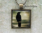 Raven Crow Surreal Magical Stormy Spooky Sky Black Bird  Photo / Art Pendant Necklace