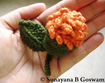 Flower Brooch, Knitted Flower Brooch, Handmade Flower, Orange/Pink Flower Brooch, Hand-Knitted Brooch, Carnation brooch