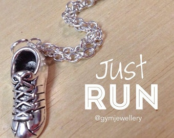 Just Run Running shoe trainer necklace race jogging marathon