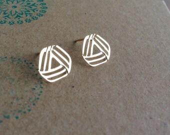 Triangle Stud Earrings, Geometric Gold Jewelry, Gold Statement Jewelry, Minimalistic Post Earrings, Gift Under 25