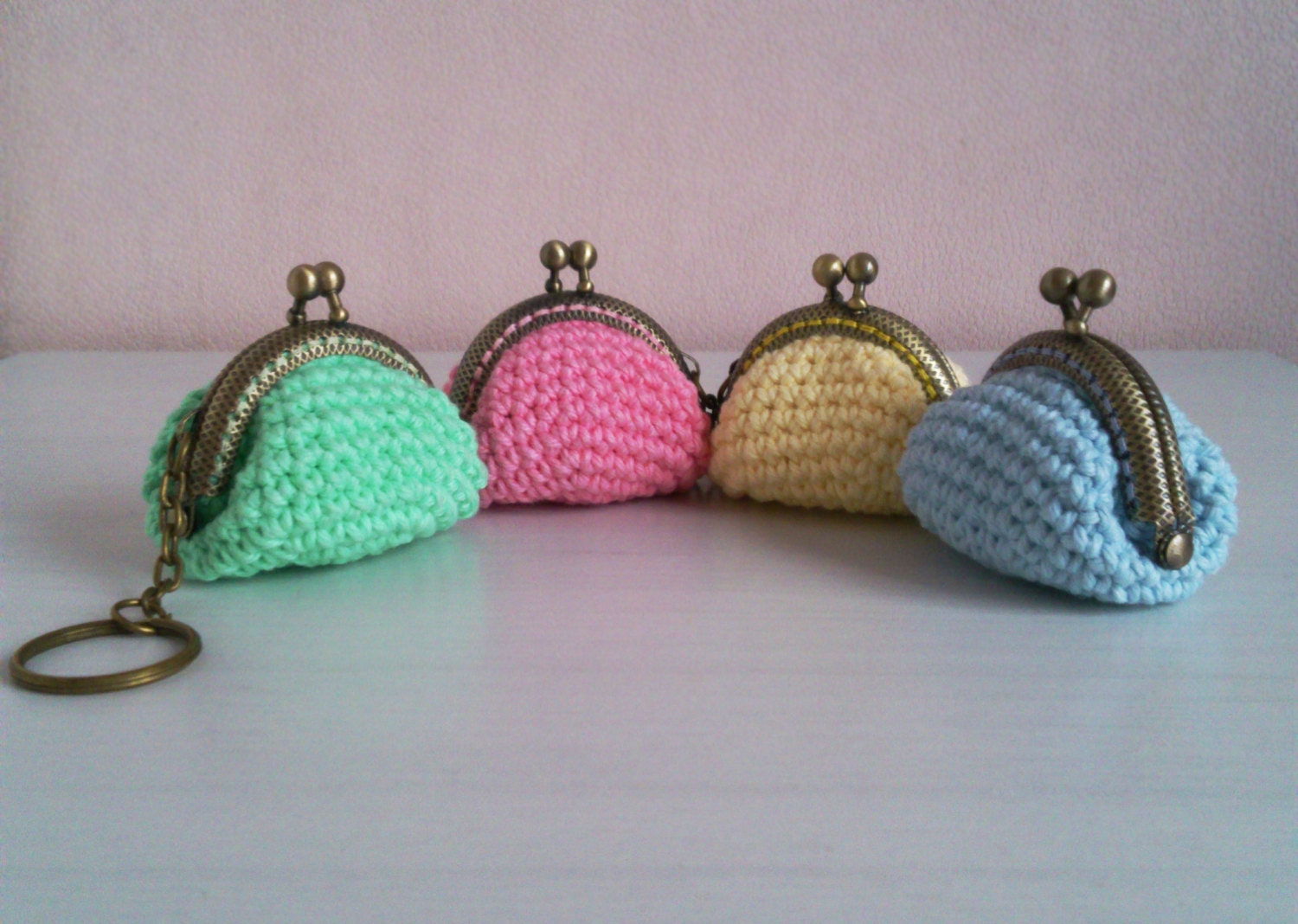 Crochet Coin Bag : Small metal framed coin purse crochet pouch keychain by ohpeach