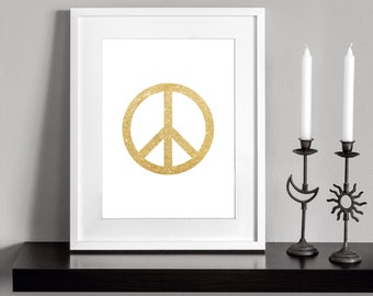 PEACE SIGN (Gold). Printable and decorative wall art. Instant Download for 3 High Resolution JPEG files.
