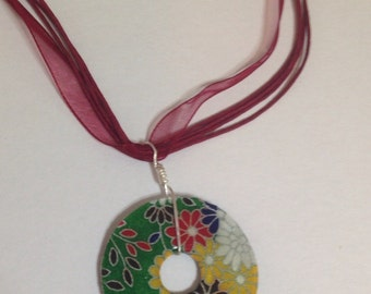 Washer pendant necklace made with washi paper