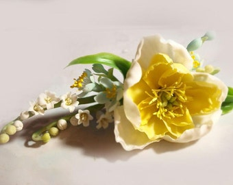 peony flower hair accessory, yellow flower hair clip, barrette