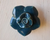Flower Drawer Knobs In Dark Blue/Green Ceramic on a Brass Base, Floral, Rose, Cottage Decor,