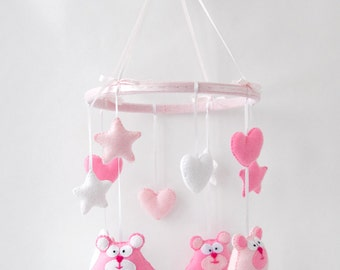 White and pink tender bears, stars and hearts baby crib mobile