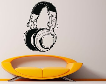 Headphones Wall Decal Music Vinyl Decal Sticker Murals Interior Recording Night Club Decor (51za7he)