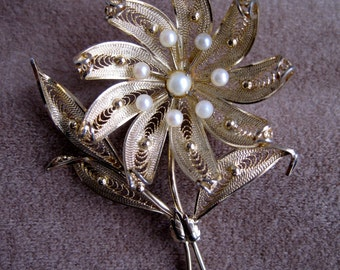 Gold Plated over Sterling Silver Brooch with Faux Pearls from the 1950's