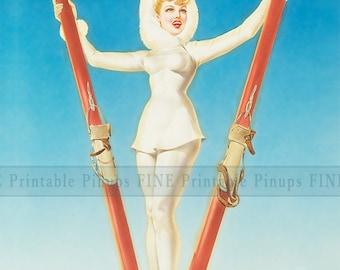 "Vintage Pinup Art Girl // 8""x10"" Printable Digital Download // Skiing Joy"