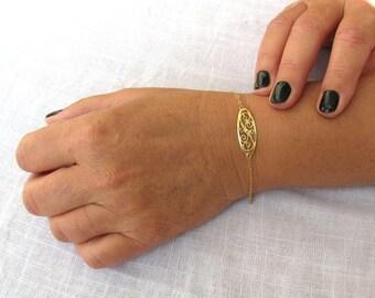 Gold bracelet, filigree bracelet, gold filled 14k, luck bracelet, dainty bracelet, oriental bracelet, gold filled bracelet