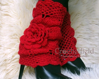 Red Leg warmers, boot cuffs, lace boot socks, Crochet Dance / Ballet Leg Warmers,fitness boot socks,Gift for her, flower leggings