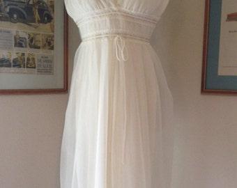 True Vintage | 1950s White Chiffon Gotham Peignoir | Negligee Set | Wedding Night