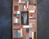 MOSAIC reclaimed wood art // wood assemblage // captured glass I