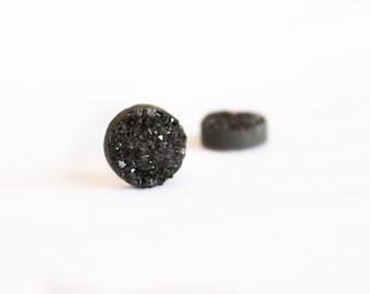 2 Pieces - Black Metallic Druzy Cabachon - 10mm Round Druzy - Sparkling Druze - Shiny Black Druzy - Bulk - Round Metallic Druzy / DC-007