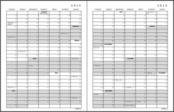 items similar to 2015 yearly calendar  2 pgs 8 5 x 11