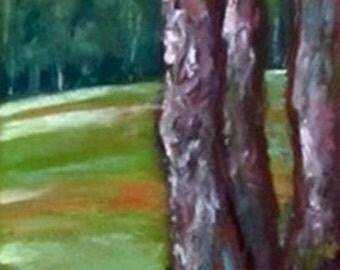 Garden Wall, trees, Salisbury, NorthCarolina, 4.25 x 11.75, original art, pastel painting