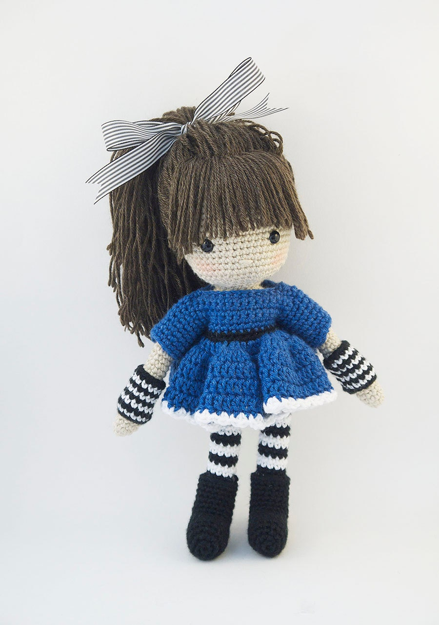 Amigurumi crochet doll Cool little girl with blue dress with
