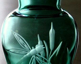 Dragonfly, Hand Engraved, Vase, Emerald Green. glass art, art glass, one of a kind, accent vase, dragonfly vase,green vase,